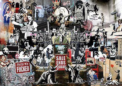 Banksy Collage Large BOX CANVAS Art Print Black & White - All Sizes Canvas Art Print Box