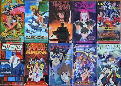 Lot of 10 Anime VHS Video New Subtitles in English Motion Picture Movies OVA