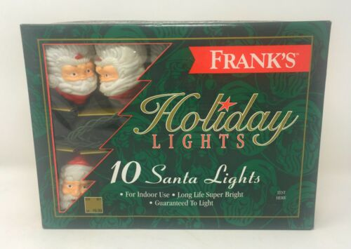 Vintage String of 10 Plastic Santa Claus Heads Face Lights Franks in Box
