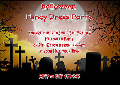 Personalised Kids Halloween / Birthday Party Spooky Graveyard  Invite pk 10 - Kids Halloween Invitation