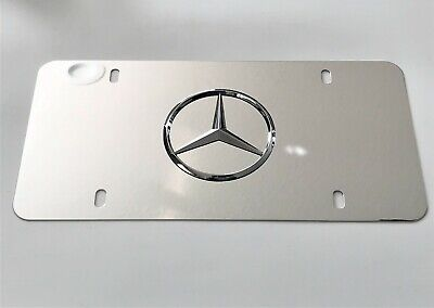 Mercedes Benz Star Mirror Chrome Stainless Steel Metal Front License Plate Caps