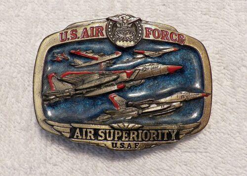 VINTAGE BELT BUCKLE USAF US AIR FORCE AIR SUPERIORITY 1983 SERIAL #1073 JET BB4