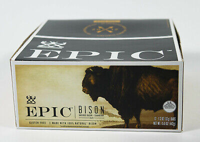 EPIC Bar 1.3oz BISON with Uncured Bacon Cranberry meat jerky 12 bars NIB 10/2020