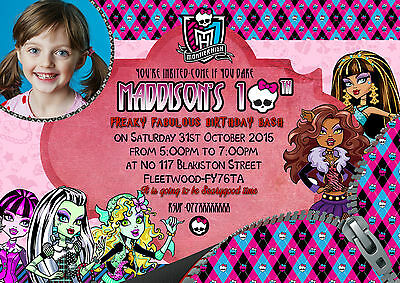 Girls Persionalised Monster High party invitation/thank you card X8 cards