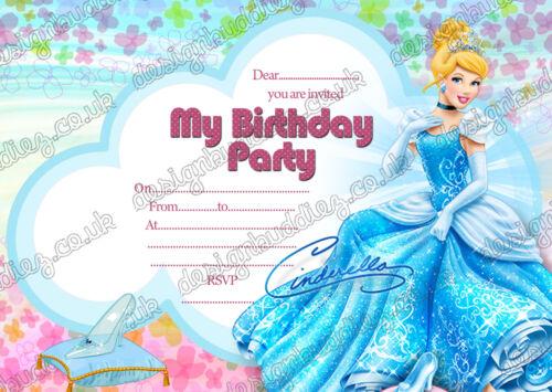 Disney+Princess+Cinderella+birthday+invitations+Cinderella+birthday+party+x+8