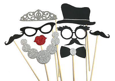 Photo Booth Props Weddings Parties Vintage Hollywood Tiara Moustache  x 9PC - Vintage Photo Booth Props