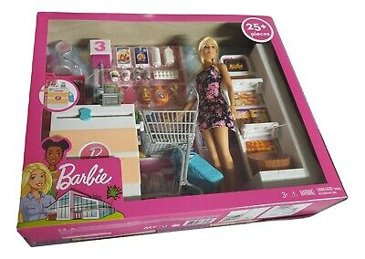 Barbie Supermarket Grocery Shopping Blonde Doll Playset Mattel toys, New Sealed.