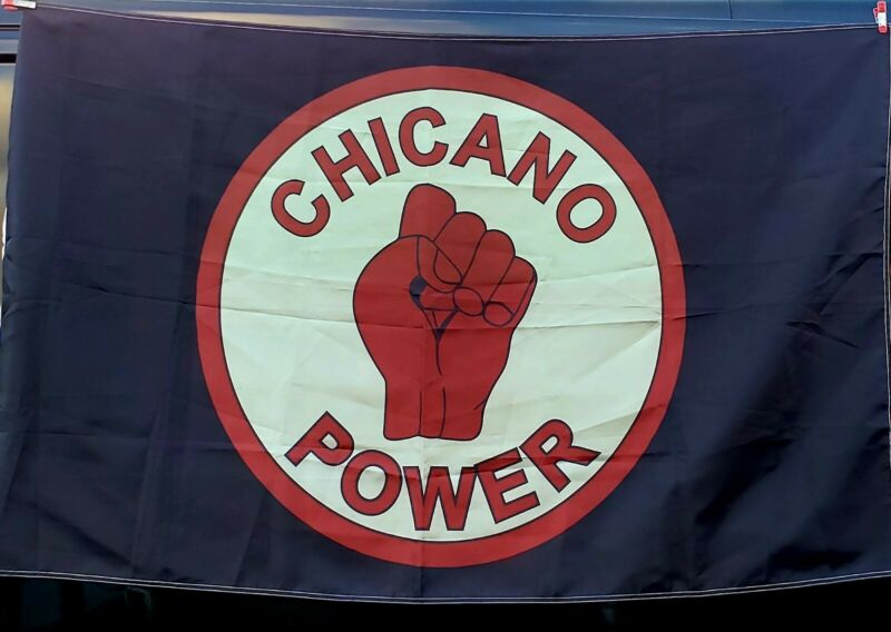 Chicano Power fist Chicana Lowrider Movement Color   Flag Banner 3ft x 5ft