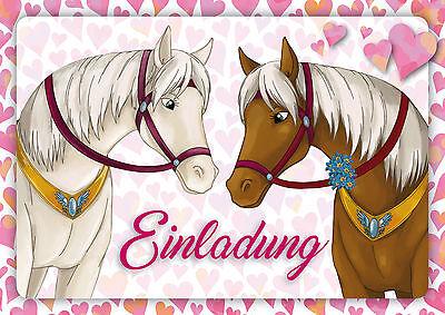 6 Pferde Einladungskarten Mädchengeburtstag, Geburtstagseinladungen Kinder