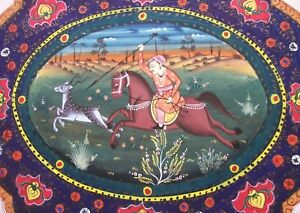 ANTIQUE INDIAN / PERSIAN HAND PAINTED - HUNTING SCENE