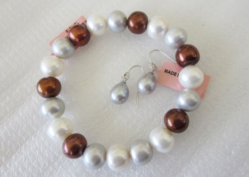 Mulit-Color Freshwater Pearl Bracelet and Earring Set  in Sterling Silver