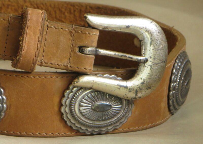 Heavy Leather Concho Belt by Billy Belts w/ Solid Brass Silver Tone Buckle Sz 32