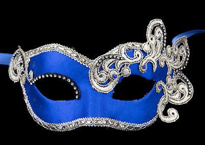Mask Venice Colombine macrame rhinestone satin blue silver Paper mache 22397