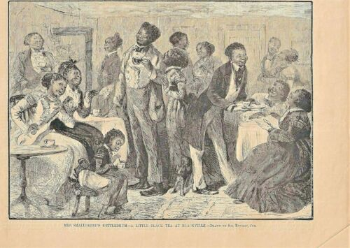 1879 BLACKVILLE ART PRINT ~ THE SMALLBREED FAMILY ~ DRINKING TEA ~ SOL EYTINGE