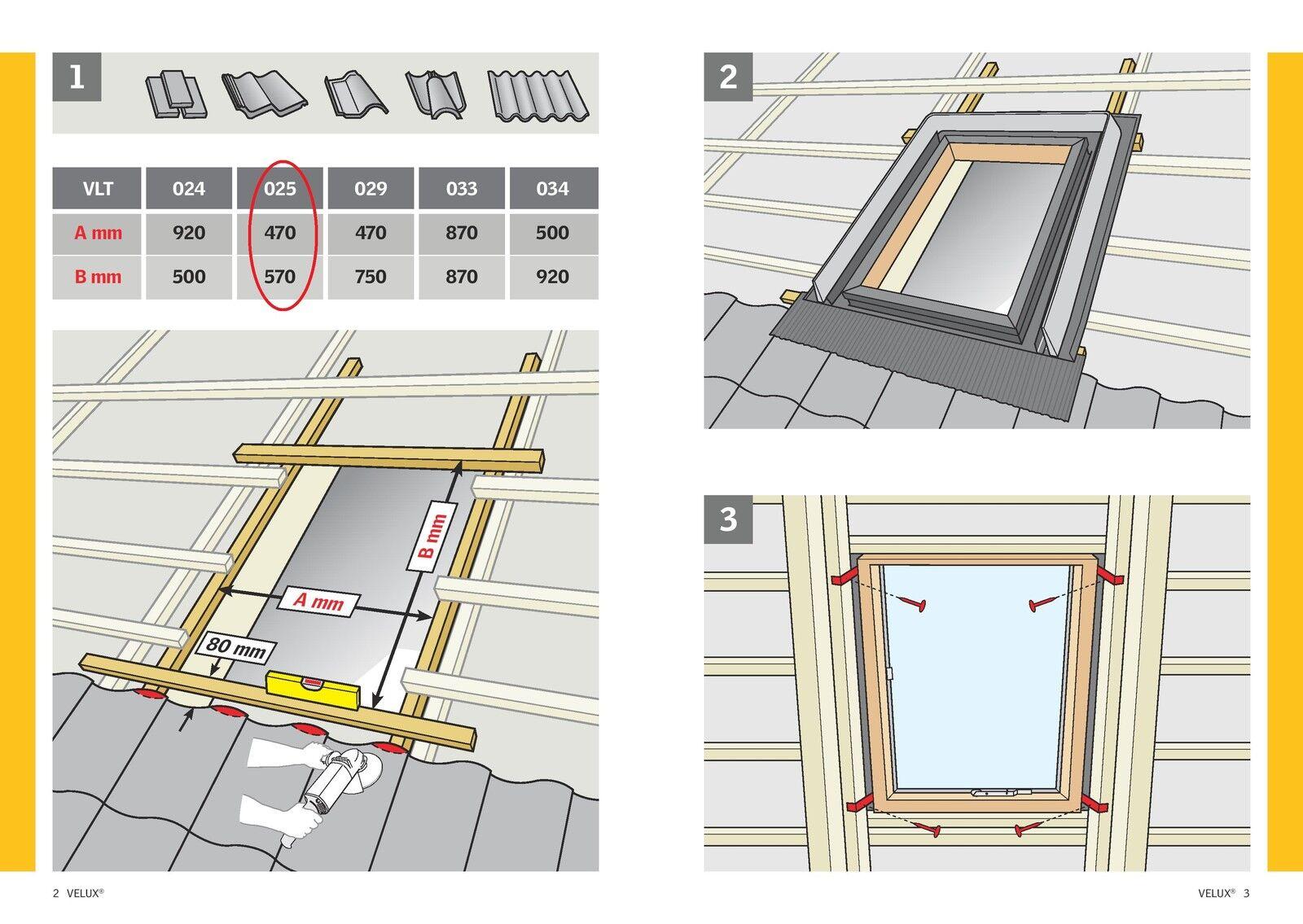 Genuine Velux Access Skylight Roof Window 45x55 Cm Loft
