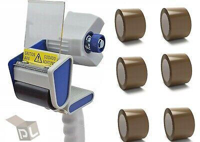 6 Rolls 3 X 110 Yd Brown Packing Tapes 2.0 Mil Free 3 Inch Tape Gun Dispenser