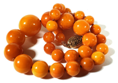 VINTAGE OPAQUE BUTTERSCOTCH GRADUATED AMBER BEADS NECKLACE CHINESE CLASP 44.2 G