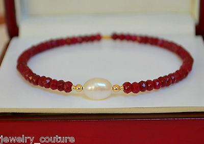NATURAL RUBY/ SOUTH SEA PEARL Faceted  Bangle Bracelet 14K Yellow Gold