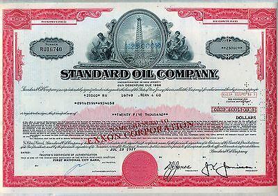 Standard Oil Company Bond Stock Certificate Exxon