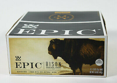 Epic BISON 1.3oz Uncured Bacon Cranberry meat jerky 12 bars grass-fed 12/2020