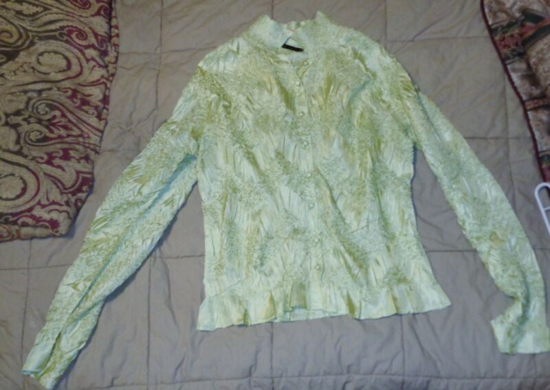 "WDNY Green Crushed Fabric Long Sleeve Women's Blouse 28"" L 22"" Chest 28"" Sleeve"
