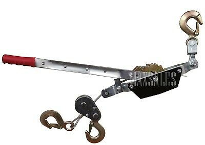 New 3-hook Come A Long 2 Ton 4000 Lb Winch Hoist Hand Cable Puller Durable Hd