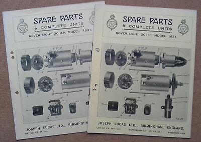 Rover Light 20hp 1931   Lucas Parts Lists 26 & update 26A