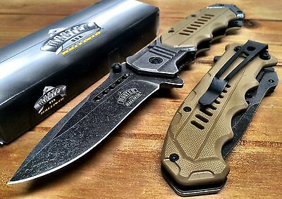Spring Assisted Pocket Knife Stonewash Finish Tactical  Alum Handle Sharp A041tn