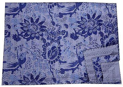 Bird Blue Kantha Quilt Antique Handmade Bedspread Cotton King Size Crazy Blanket