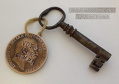 Edward VII Defaced Penny Coin Suffragette KeyFob Votes for Women Emily Pankhurst