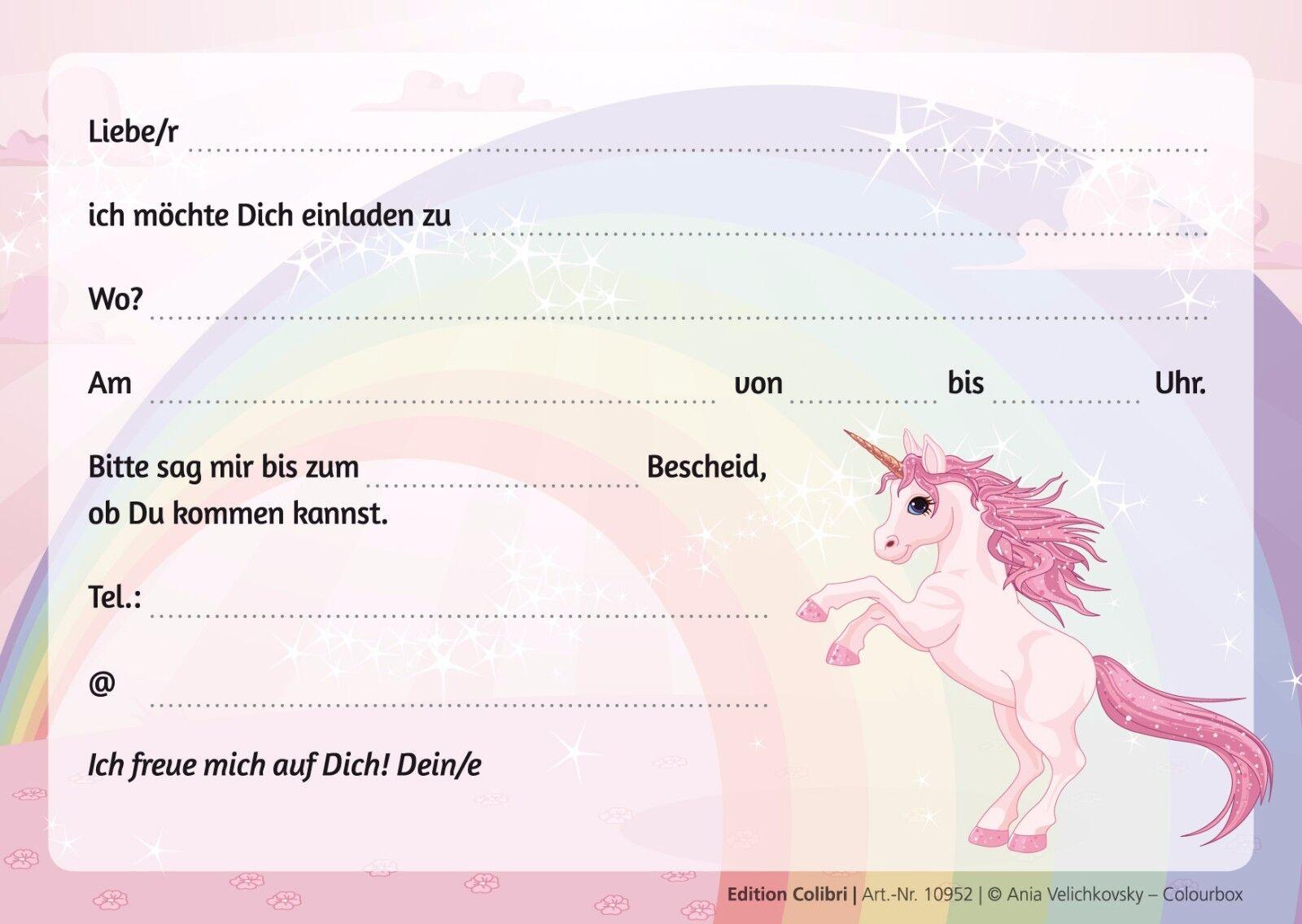 Einladungskarten zum Mädchen-Kindergeburtstag mit Einhorn auf Regenbogen