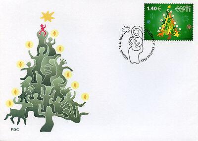 Estonia 2016 FDC Christmas Tree Trees 1v S/A Set Cover Stamps