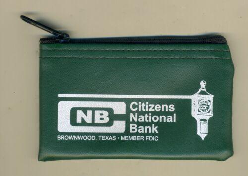 "Mini Deposit Bag 5"" Coin Change Purse Advertising Citizens National Bank Texas"