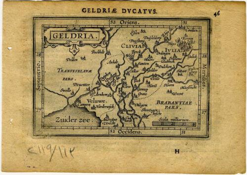 1609 Genuine Antique miniature map of the Netherlands. Geldria. by A. Ortelius