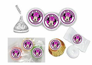 108 Minnie Mouse Hershey Kiss Labels Stickers Party Favors Personalize HOT PINK