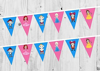 Princess and Pirate Birthday Banner, Bunting, Decoration, - Princess And Pirate Decorations