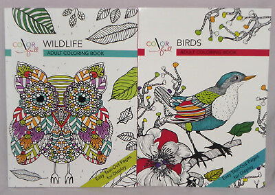 Colorfull Wildlife and Birds Adult Coloring Book Lot of 2 Easy Tear Out Pages