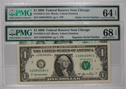 (2) 2006 FRN $1 CHICAGO FR.1933-G PMG GEM UNC EPQ REPEATER / RADAR SERIAL (284C)