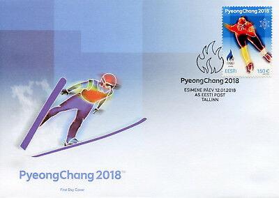 Estonia 2018 FDC Winter Olympics PyeongChang 1v Cover Speed Skating Stamps