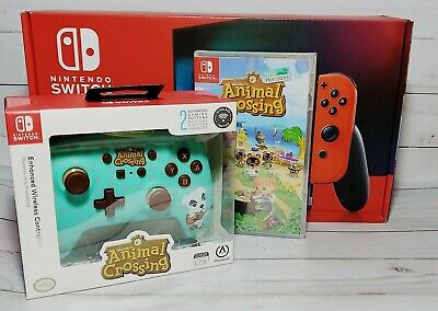 Nintendo Switch Neon Blue Red Console Animal Crossing Game Pro Controller Bundle