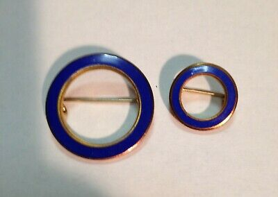 PAIR OF GOOD FILLED BLUE ENAMELED CIRCLE PINS 1920-30