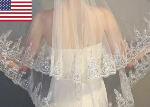 "Gorgeous Ivory White 2 Layer Trimmed in Sequins 36"" Fingertip Elbow Wedding Veil"