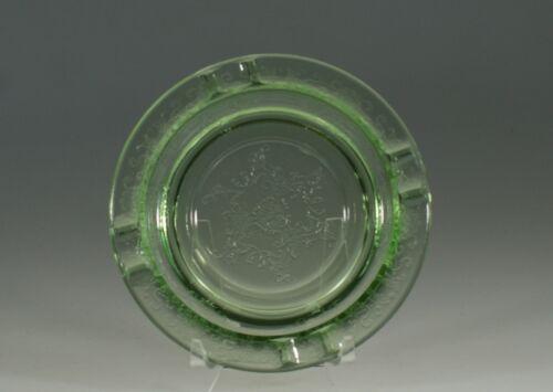 "Vintage Hazel Atlas Glass Green Florentine Poppy Large 5-1/2"" Ashtray c.1935"