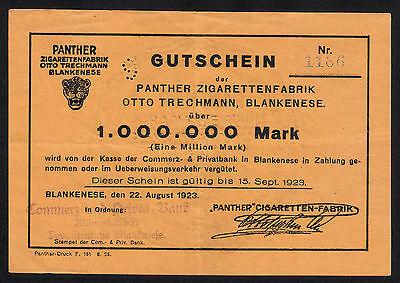 Hamburg Blankenese -Panther Zigaretten- 1 Million Mark vom 22.08.1923