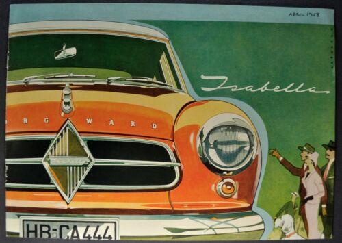 1958-1959 Borgward Isabella Sedan Catalog Sales Brochure Excellent Original