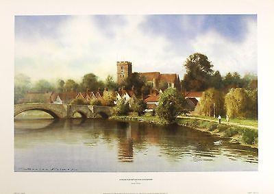 "DUNCAN PALMAR ""Pause Reflection Aylesford"" bridge river SIZE:33cm x 52cm  RARE"