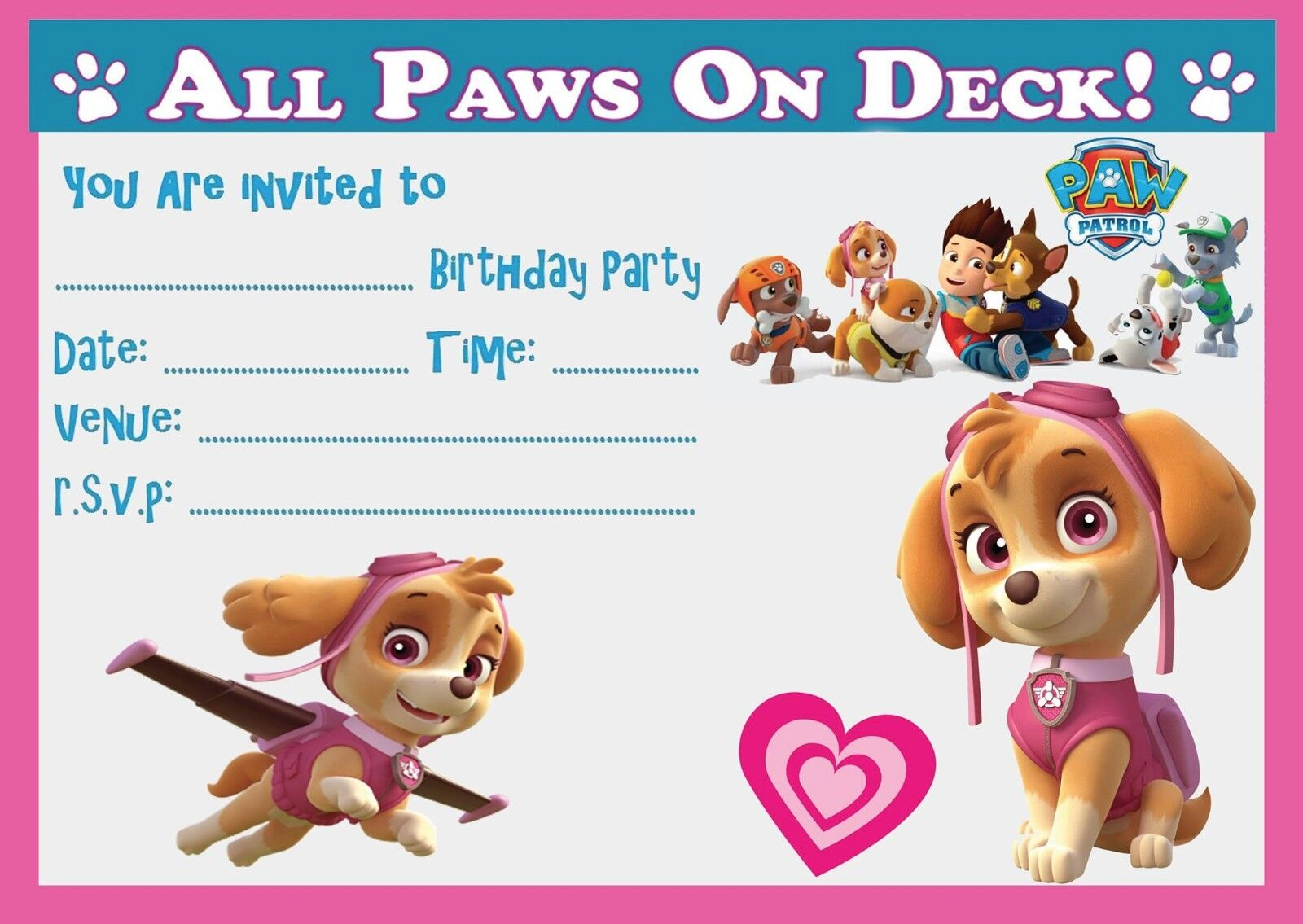 PAW PATROL SKYE BIRTHDAY PARTY INVITATIONS INVITES  WITH OR