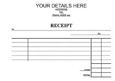 A6 PERSONALISED NCR DUPLICATE RECEIPT BOOK In 50's