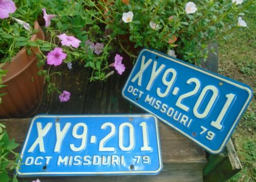Vintage Missouri 1979 License Plate Pair # XY9-201 MO