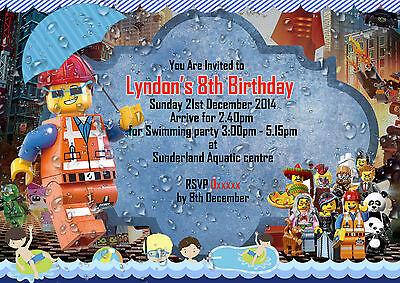 Movie Themed Invitations (Personalized Birthday Party Invitations Lego Movie Pool theme 8 Invites Set )